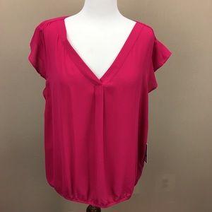 NWT Chaus Dancing Rose Pink Peplum Blouse XL